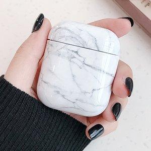 AirPods 1/2 hoesje Marble series - hard case - Marble wit - Schokbestendig