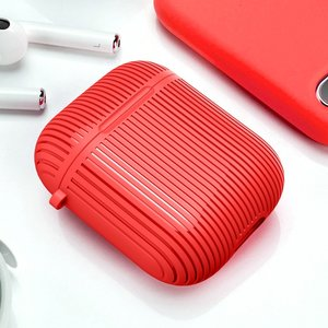 AirPods 1/2 hoesje Stripe series - Hard case - Rood - Met bevestigingsclip