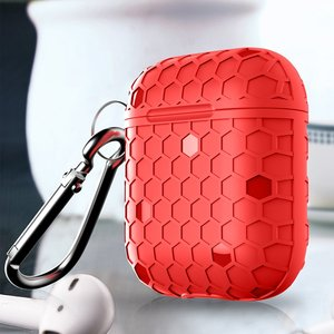 AirPods 1/2 hoesje Hexagon TPU soft serie - rood